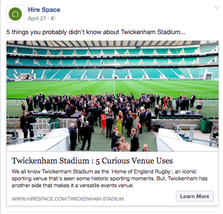 Twickenham marketing Facebook ad